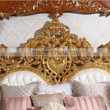 ... Royal Place Gold Leaf Finished Full Solid Wood Carving Bed, Arabic  Golden Style Bedroom Furniture ...