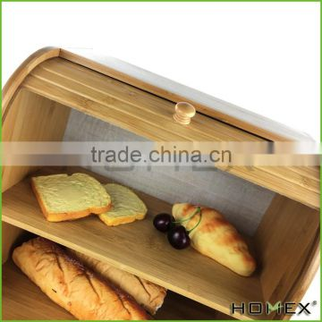 Bamboo 2 Tier ( layer ) Bread Box Roll Top Bread Bin Homex BSCI/Factory