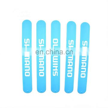 Gifts crafts plastic crafts top quality blue steel spring offset silkscreen safety slap band