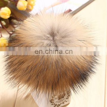 13cm natural color raccoon fur pompom ball for knitted hats
