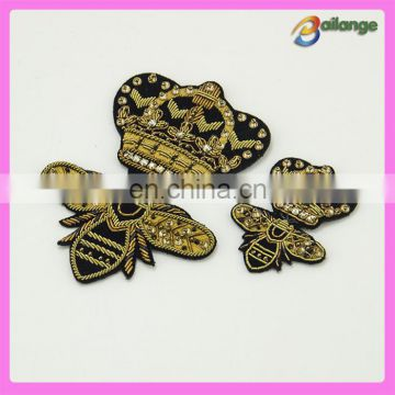 Metallic Embroidery Bee and Crown badges for garment