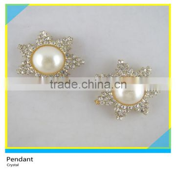 Pendant Charms Sew on Bling Glass Crystal mix Pearl Flower 18mm Diameter Dress Decoration
