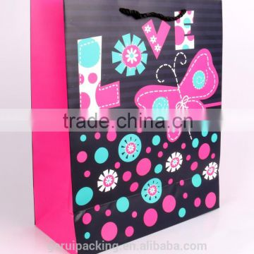 2015 New Style Heart love design colorful glitter gift paper bag with pp rope handle