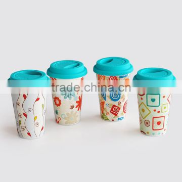 Double Wall Ceramic Coffee To Go Mug for Promotion, Porcelain with Decal Printing& Silicone Lid