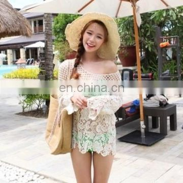 Sexy Beach Cover up Crochet White Swimwear Dress Ladies