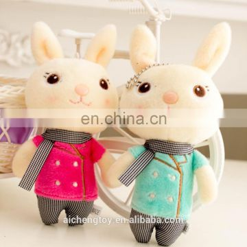 plush stuffed toy cute scarf rabbit shaped keychain