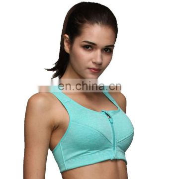 New Women Fitness Wear Gym Clothing Zipper-Style Padded Sports Bra