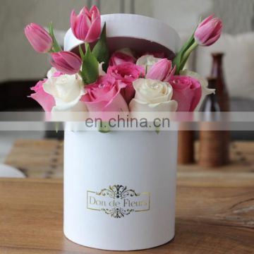 High Quality Foil Logo Round flower box with lid