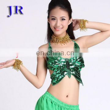 Shiny full sequins butterfly stage women sexy belly dance clothes top wear S-3009#