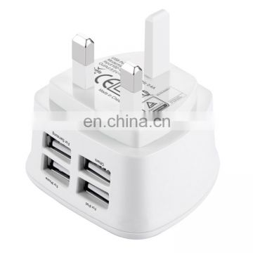 Factory stock Universal Wall Charger, BS Certificate Travel Charger with UK plug 4 USB ports Max 3.1A