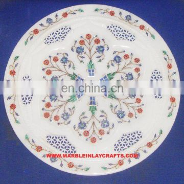 Fancy Marble Inlaid Plate Home Decorative Marble Inlay Plate