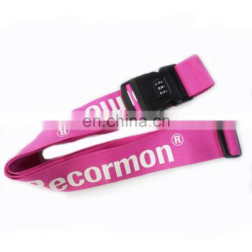 Custom design logo airport luggage belt /luggage strap with lock