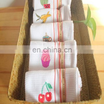 100% cotton embroidery waffle kitchen tea towel