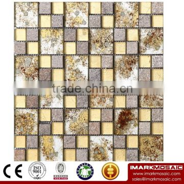 IMARK Mixed Black and Gray Color Crystal Glass Mosaic Tiles and Electroplated Glass Mosaic Tiles Code IXGM8-075