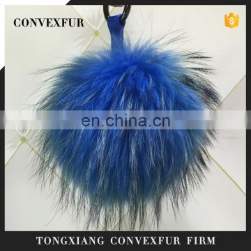 Hot New Year Products Fur Pom Poms Keyring Wholesale Home Decoration Genuine 19cm Raccoon Fur Ball Key Chain