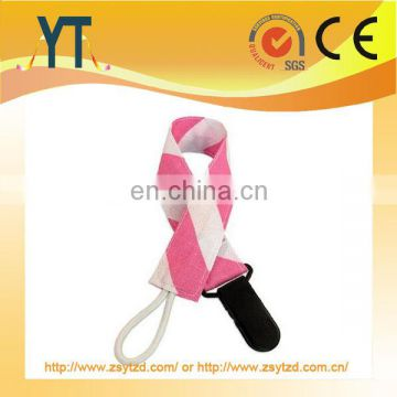 Wholesale Good Quality BPA Free Baby Pacifier Clips/Top quality Customized Designs Ribbon Material Leash Baby
