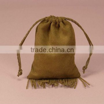 Faux Fringed Drawstring Suede Pouch Jewelry Bag (Accept Custom Design And Print Your Logo)