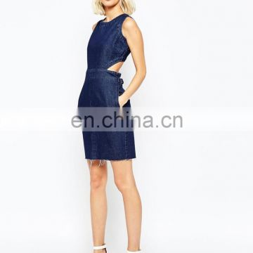 100% cotton 2015 wholesale newest style hot sale denim mini womens dress with cut out back
