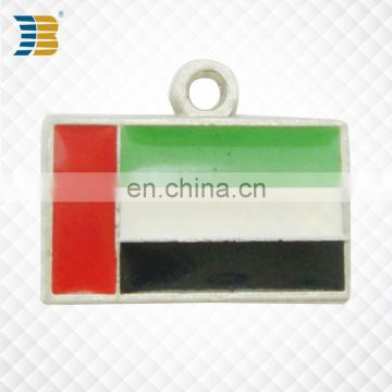UAE national flag shape custom metal charm painted witn epoxy