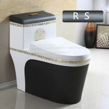 Sanitary ware bathroom modern design good quality one piece black colored toilet seat