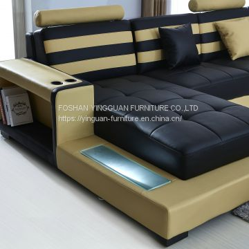 with cup holder LED light U shape leather sofa