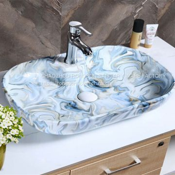 Fancy rectangle color manufacturer no hole ceramic wash hand basin sink from china