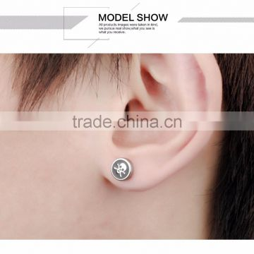 Skull Patern Body Steel Jewelry Piercing Barbell Tunnel Plug Stud Earrings