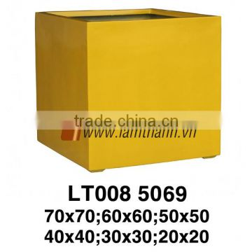 East Asia Manufacturer Modern Trading Square Yellow Poly Glossy Planter