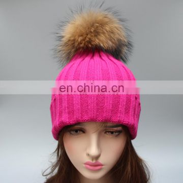 Rose color top grade winter acrylic beanies with large natural fur ball