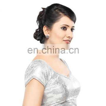 Silver sequence readymade stitched blouse for women