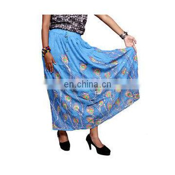 Peacock Feathers Rayon Embroidered Sequin Work Elastic Waist Long Skirt Boho Hippie Casual Hand Work Embroidered Skirts Wrap