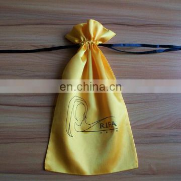 Wholesale custom printed hair extension packaging drawstring satin bag