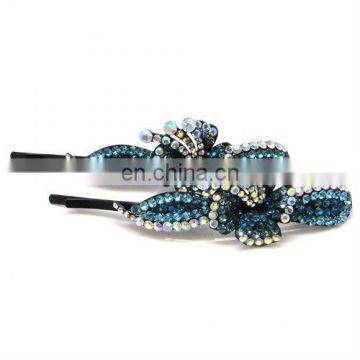 Metal flower rhinestone crystal hair clip pin accessories
