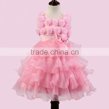 Beautiful Purple Wedding Dress For Little Girl Full Flowers Decorate Party Kids Dress Frocks Designs Tiered Dress