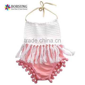Inflant baby girls Lovely tassel sleeveless beach rompers summer one piece bodysuit newborn baby clothes