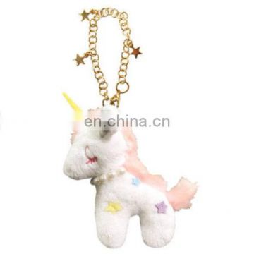 customized mini animal plush toy unicom and key chain,stuffed horse peral necklace