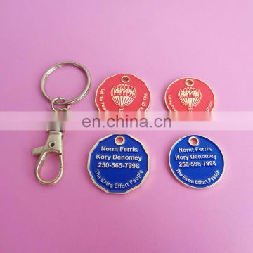 Canadian shopping cart coin key holder with two loonie coins
