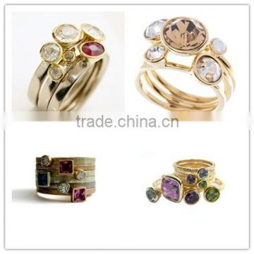 2015 fashion Personalized Custom birthstone Stack Rings