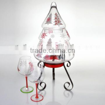 FDA, holiday theme artificial christmas tree shaped glass beverage dispenser