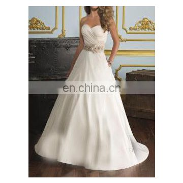 Strapless Contrast Band and Flowers Wedding Gown