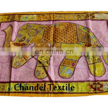 Embroidered Patch Sequins Patchwork table runner Indian Hand Elephant Wall Hanging Tapestries Tapestry Decorative Ethnic wall