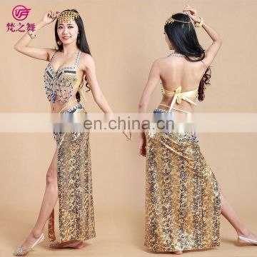 Egyptian new bright fabric 3pcs belly dance costumes with bra and belt and skirt set