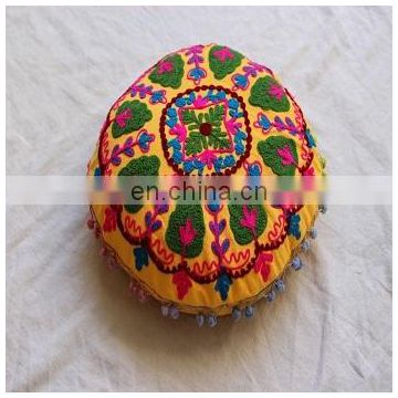 Flower Embroidered Suzani Round Cushion Cover Round Pillow Case 16'' CU16