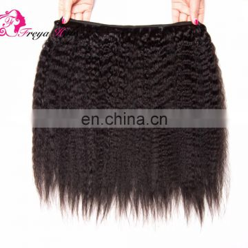 Qingdao Freya hair cheap factory price virgin brazilian kinky straight yaki hair weave