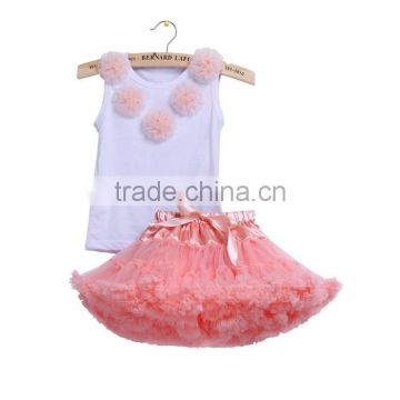 flower pink Petti skirts suits Children Baby Girls Skirt Set persnicty remake girls dress outfits