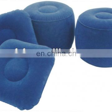 inflatable flocked camp stool and pillow