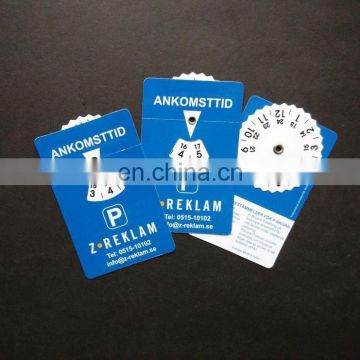 Business card size 85x54mm self cling plastic parking disc, parking disk, parking meter