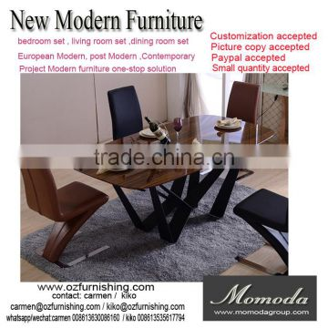 New Fashion Italian Modern Furniture Private Custom Made Wood /glass Top  Metal Dining Table Fashion ...