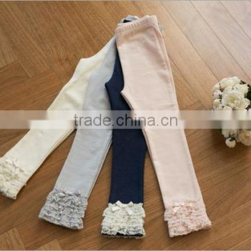 fashion ruffle leggings for girls wholesale baby girls leggings four colors leggings with lace on the ankle