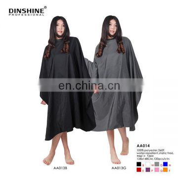 Wholesale salon capes,clear window for phone, nylon/polyester black capes